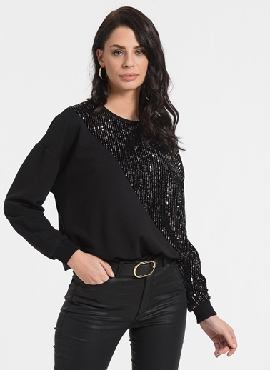 Styletag Pullu Sweatshirt Siyah